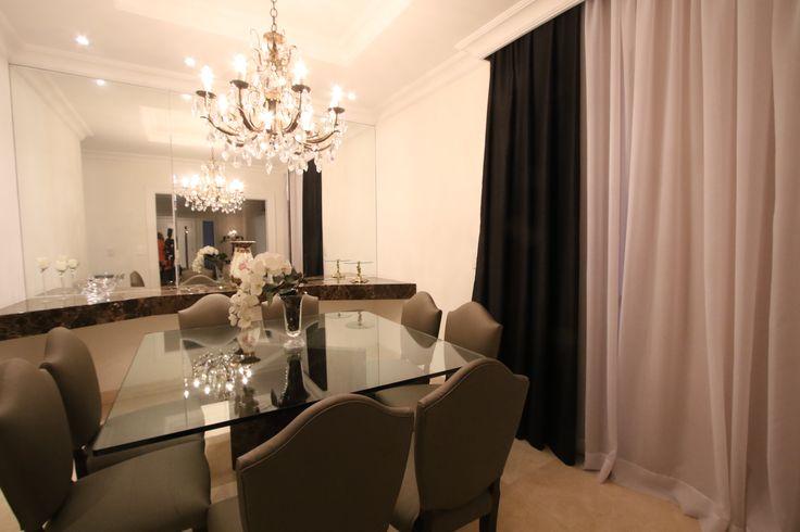 sala de jantar, inspiração, lustre de cristal, decoração. Projeto de Arquiteta Cristiane Vassoler
