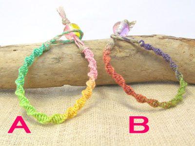 ヘンプの編み方 ねじり編みのブレスレットの編み方