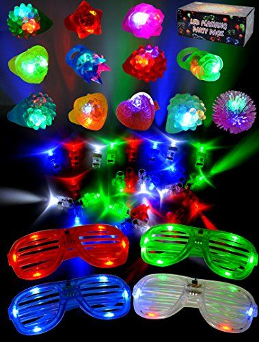 Joyin Toy 60 Pieces LED Light Up Toy Party Favor Party Pack for classroom price –44 LED Finger Lights, 12 LED Flashing Bumpy Rings and 4 Flashing Slotted Shades Glasses  Led light up party pack are great for concert, night activities, weddings, birthdays party, mardi gras party, halloween party, dance party, raves & celebrations, christmas, outdoor events and holidays.  44 led finger lights.  Super bright with 4 colors, blue, green, white and red.  Finger lights designed with elastic s...