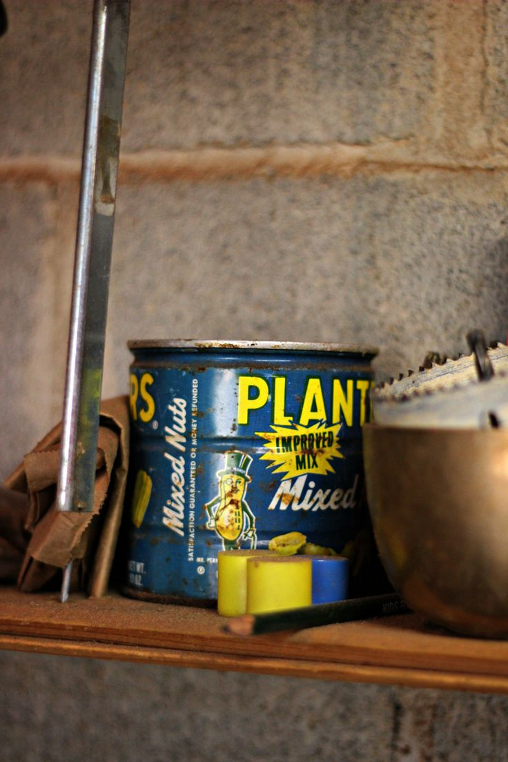 Vintage Planter's Peanuts Can at Heartwood Forge | Oysters & Pearls