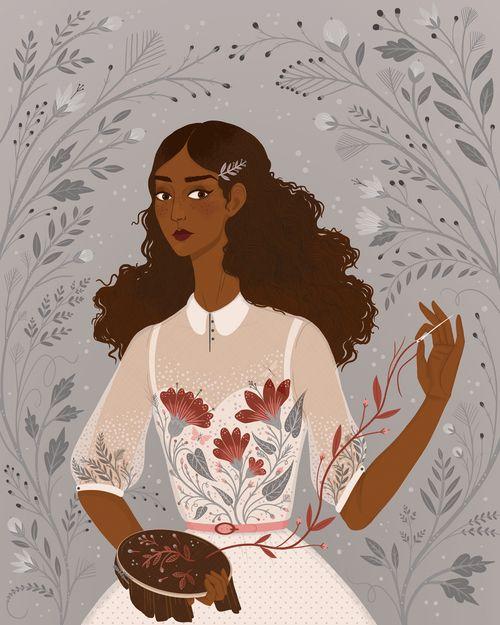 'Gardenia', Digital illustration ©Lisa Perrin 2016