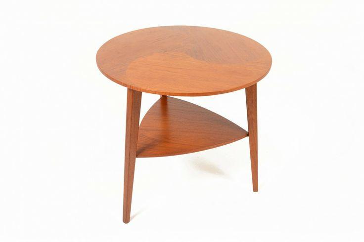 CIRCULAR SPIRAL INLAY TEAK SIDE TABLE • Mid Century Mobler