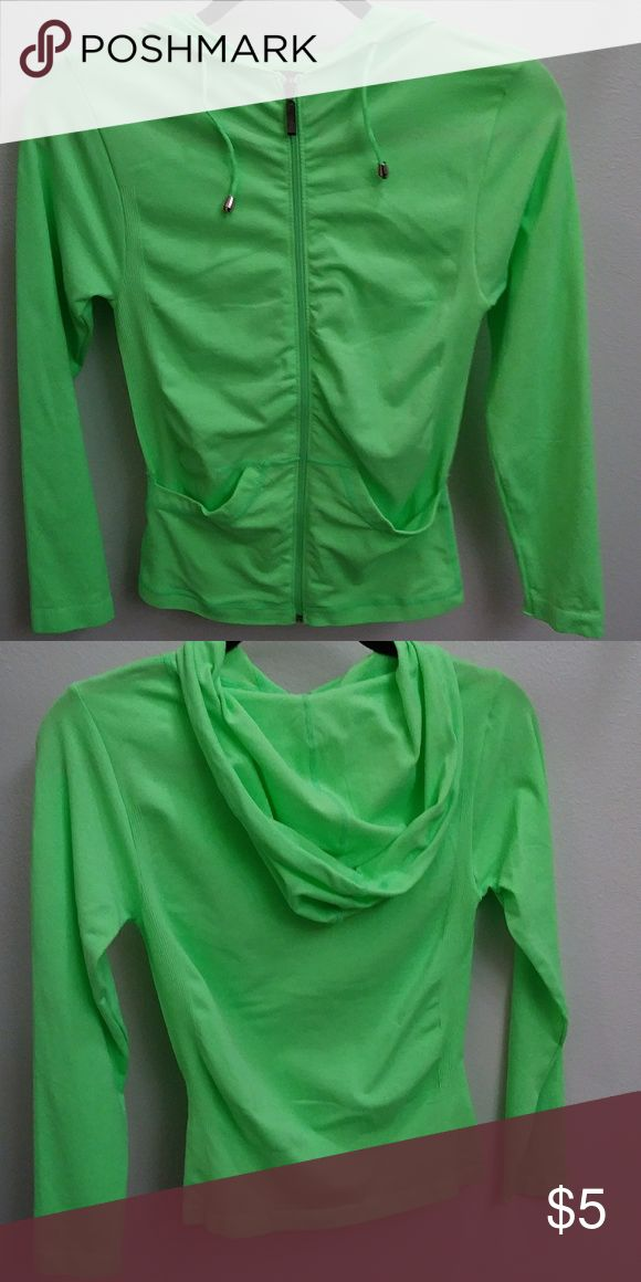 Neon Green Zip up jacket w/hood Neon Green Zip up jacket w/hood. One size fits all. Great for a late night or early morning run! Its never been worn. I bought it from a set but I never needed the jacket. Jackets & Coats