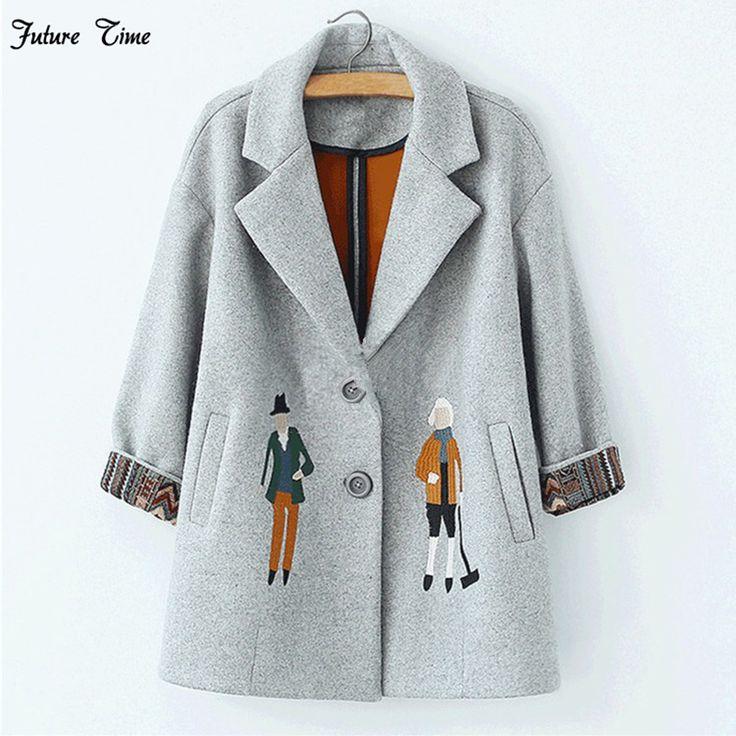 2017 г. осенние женские пальто, европейские модные женские шерстяные куртки с вышивкой зимняя верхняя одежда серый пальто кашемировое пальто Femme C0361 пальто женское пальто женское кашемир женское пальто из шерсти купить на AliExpress