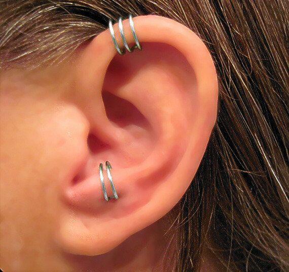 """Vendita 2 Polsini n Piercing Handmade 1 Helix polsino polsino dell'orecchio """"Triple Loop"""" & 1 Anti trago Cuff """"Simple Loop"""" scelte di colore"""