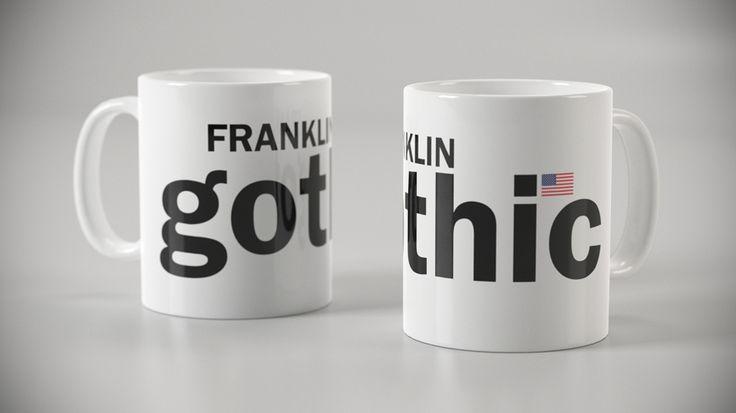 Taza con tipografía Franklin Gothic