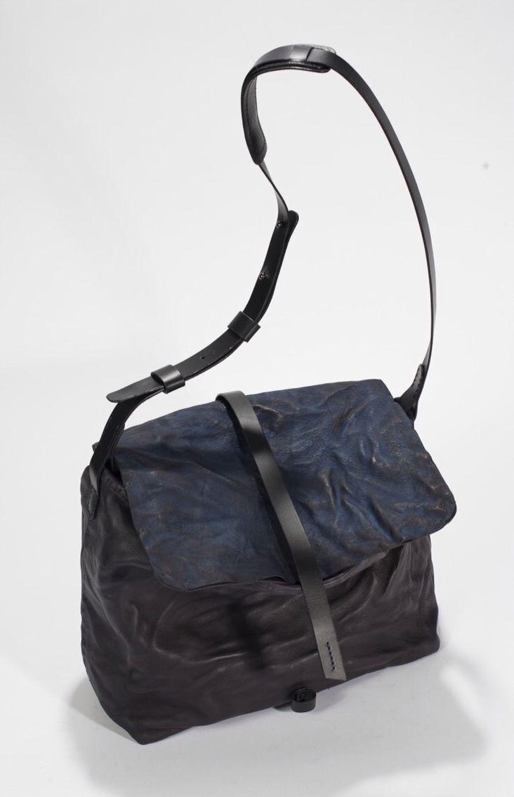 Dark blue & black leather bag Hand made & dyeing