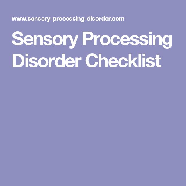Sensory Processing Disorder Checklist