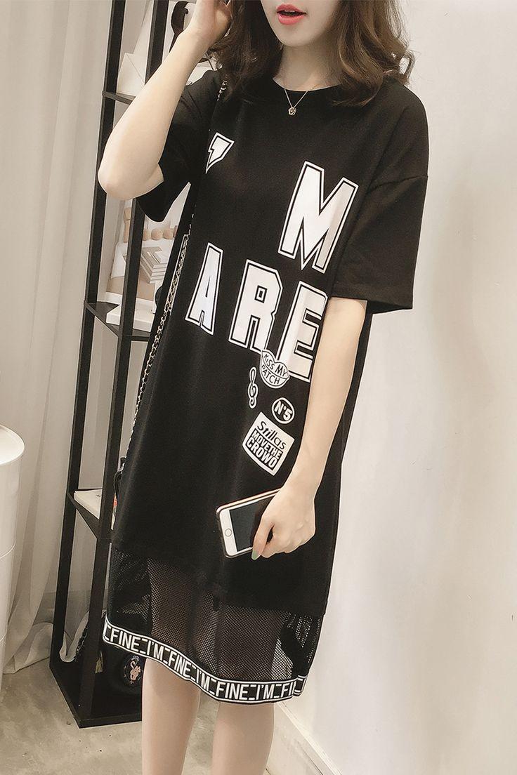 レディース トップス 半袖 ロゴ 個性的 派手 原宿系 HIPHOP ヒップホップ ダンス 衣装 ワンピース
