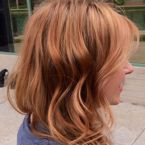 copper blonde disheveled hairstyle