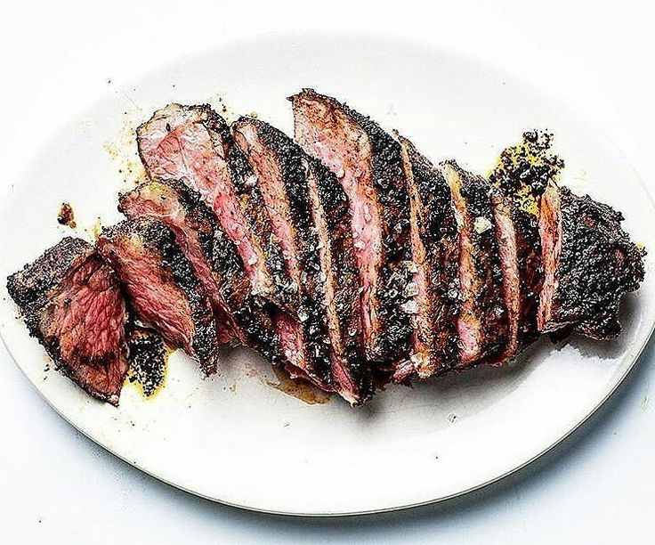 Smoked over hard and fruitwoods then reverse-seared and encrusted upon white-hot charcoal to tender mouthwatering medium-rare perfection and finished with a gorgeous porcini mushroom-herb butter. Prime-grade. Double-thick. Strip Steaks. Like a boss! #myfoodeatsyourfood  . Courtesy: Food and Wine | @foodandwine  #chef #grill #grilling #bbq #barbecue #parrilla #asado #carne #churrasco #beef #beer #cerveza #prime #meat #meatlover #carnivore #paleo #glutenfree #feast #instagood #foodstagram…