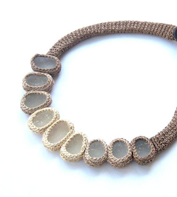 Statement bib necklace 9 sea glass Weddings bride jewelryby astash beige cream crochet collar OOAK boho beach gift her Birthday summer on Etsy, $90.00