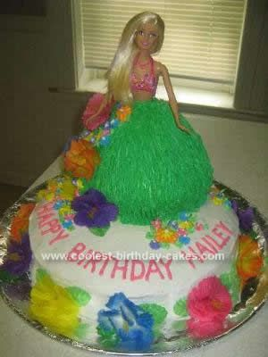 Homemade Hula Girl Cake: This Hula Girl Cake was definitely the funnest cake I've made yet! My niece came to me and asked if I would make her a Hula girl cake for her birthday.