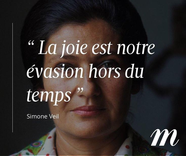 Citation Simone Veil, évasion, pensée, bonheur, joie