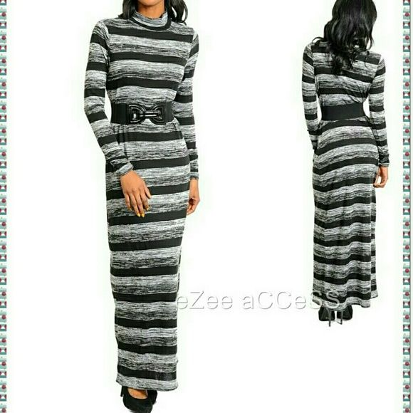 """Sweater Maxi dress long sleeves belt Black Grey Gorgeous fitted stretchy light sweater long maxi dress .Long sleeve.High turtle neck.Little ruched at the end of sleeves.Its is made of sweater like knit fabric.belt is included.  MEASURMENTS:  Sleeve length=  26"""" Total Length=58"""" Boutique  Dresses Maxi"""
