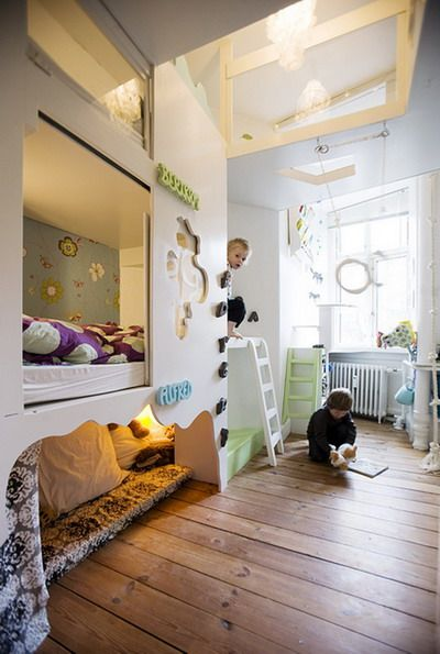 PERFECT boys' room. Can I just point out the amazing ingenuity of building in climbing features? Anyone, boy or girl, would be in heaven playing here. Now.... how to convert our kids' rooms to this.