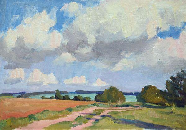 Summer #Landscape, oil on canvas on board, 35 x 50 cm, (13″ x 19″), $675 #pleinair