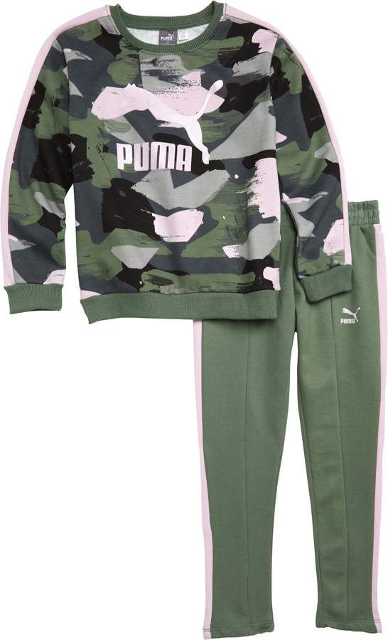 b8dcbe3d21501 PUMA Logo Fleece Printed Sweatshirt & Pants Set | Kids Clothes in ...