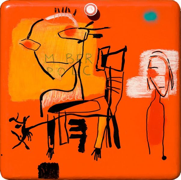 Human Shelf  ( 2005, acrylic and mixed media on wooden cupboard door, 50 x 48 cm, private collection )