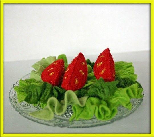 Wool Felt Vegetables Play Food Tomato Lettuce Salad by EvaLauryn