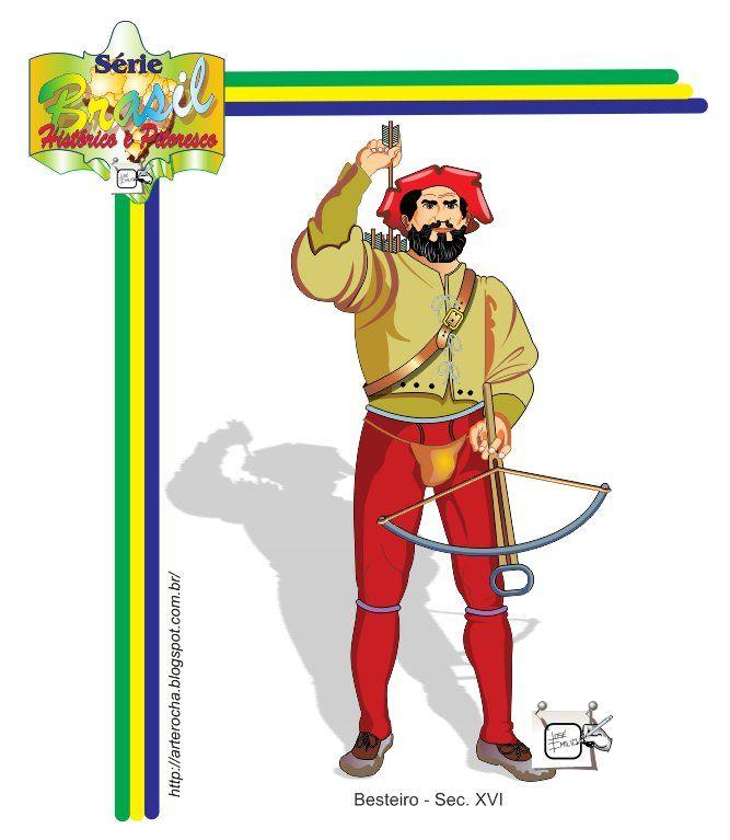 BESTEIRO - SEC. XVI - BRASIL Besteiros eram soldados medievais, que utilizavam bestas, (uma espécie de arco para atirar flexas à longa distância) por volta da metade do seculo XVI - Brasil - historia. Disparando virotes ou dardos a 150 ou 200 metros, a besta tinha o mesmo alcance útil dos arcos longos, mas um poder de penetração nos escudos e armaduras muito maior. Como o tiro era tenso a precisão era muito superior à do arco, ao ponto de os besteiros mais hábeis poderem ser comparados aos…