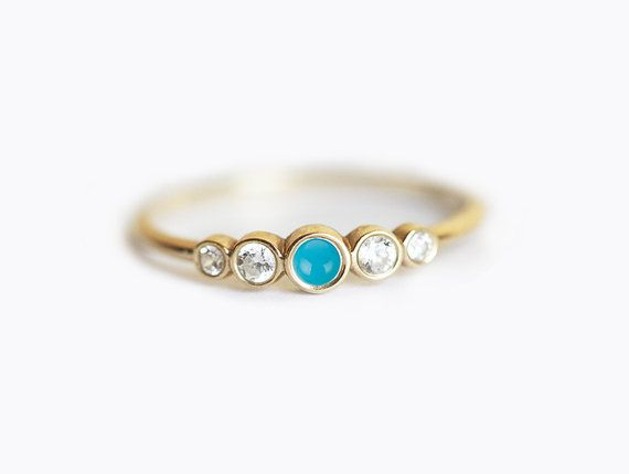Diamond bezel set ring with middle genuine turquoise. This listing is for 14k yellow gold diamond bezel set ring. This ring is designed for those who