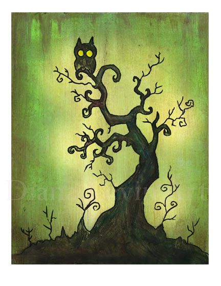 Spooky Tree Art Print  Halloween Artwork  Gothic by DianaLevinArt, $15.00