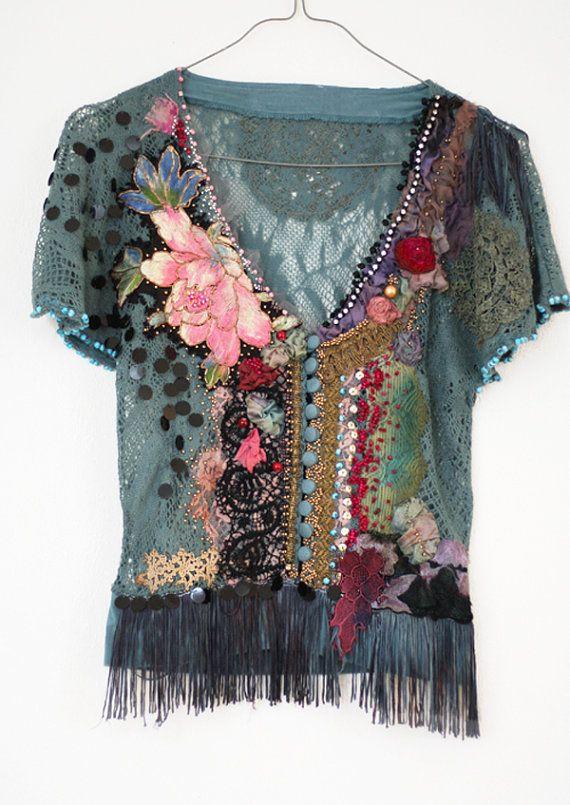 Loto Sutra-mano emboidered y punto encaje con cuentas principales con los textiles antiguos, bohemios, arte romántico, usable