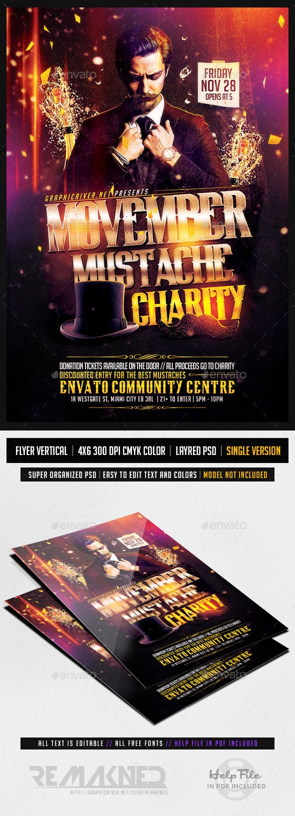 Movember Mustache Charity | Flyer Template PSD