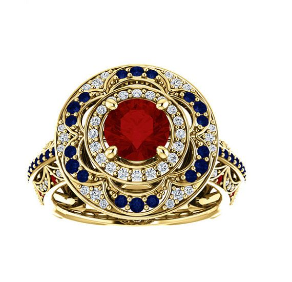 18k AAA Ruby, Sapphire, and Diamond Solid Gold Halo Cocktail Ring. 18k Yellow, White, Rose Gold. Vintage Inspired. Gemstone. Fine Jewelry by Crystal Casman Jewelry.