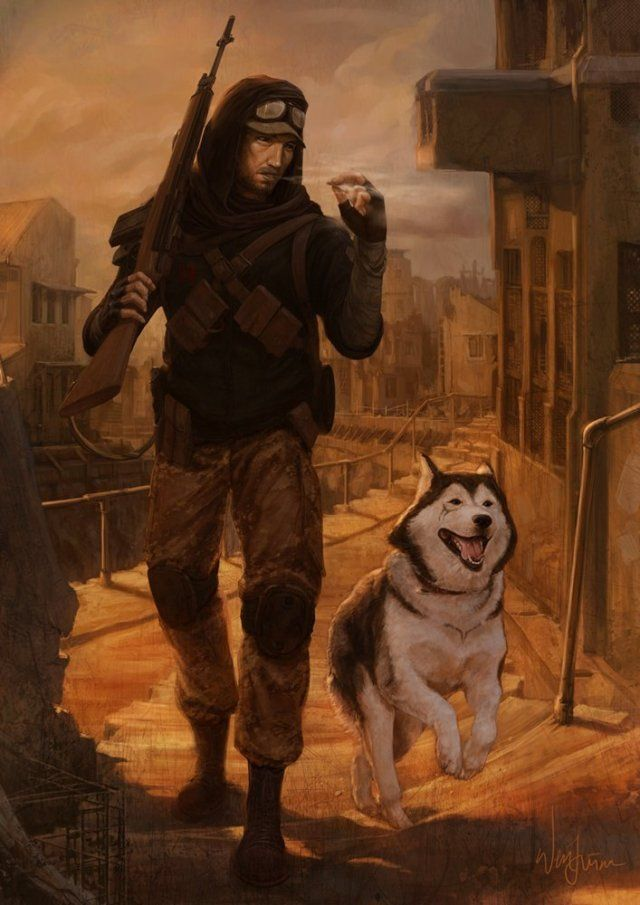 Apocalypse   Post-Apocalyptic character lone wanderer dog companion