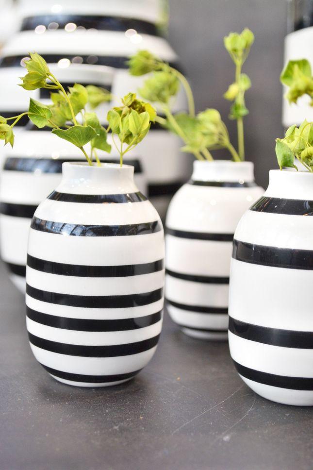 black and white striped ceramic vases