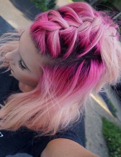 Pink pastel braided dyed hair color @cassderoda