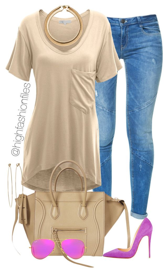 """Nude x Fuchsia"" by highfashionfiles ❤ liked on Polyvore featuring Zara, Doublju, CÉLINE, Christian Louboutin, Ray-Ban and Dean Harris"