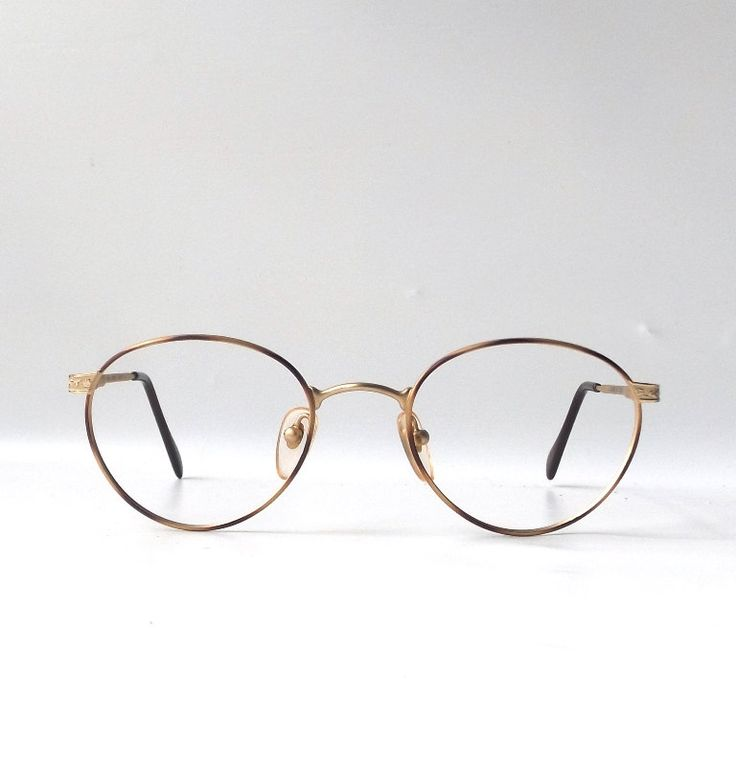 vintage 1990s nos matte gold bronze round metal eyeglasses wire frames mens womens modern retro eye glasses eyewear flex arm oval brozza