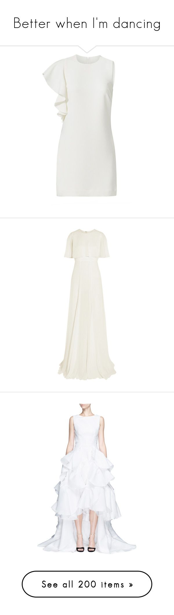 """Better when I'm dancing"" by skh-siera18 ❤ liked on Polyvore featuring dresses, white, no sleeve dress, white dresses, white frilly dress, white ruffle dress, ruffle dress, gowns, giambattista valli and vestidos"