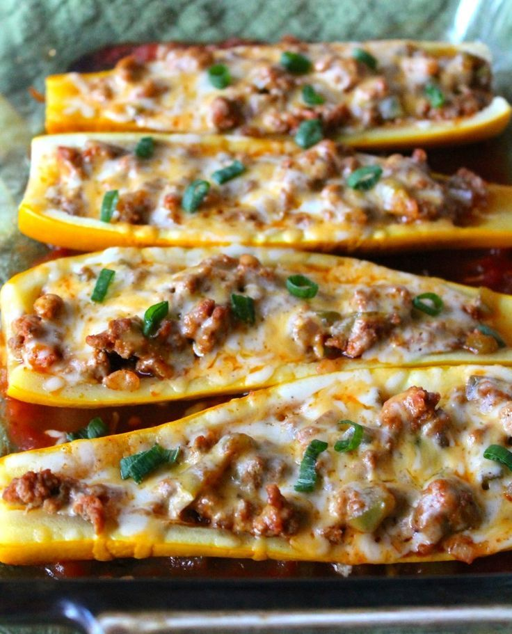 Taco Stuffed Summer Squash Boats: Summer squash is stuffed with turkey taco meat and cheese then baked until hot and melted--maybe with more veggies in the stuffing?