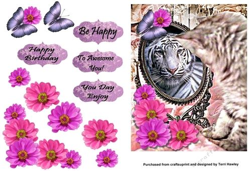A great 3D card for many reasons. it has 4 labels. Happy Birthday, Be Happy. To Awesome You. and Your Day Enjoy, Has a kitten looking into a mirror and seeing a large white lion.