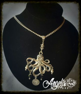 Nautical Octopus with Timepiece Necklace