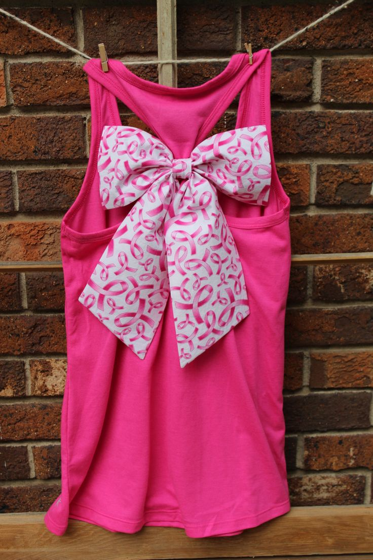 Pink racerback tank top with big trendy breast cancer awareness bow by PurpleEyelash on Etsy