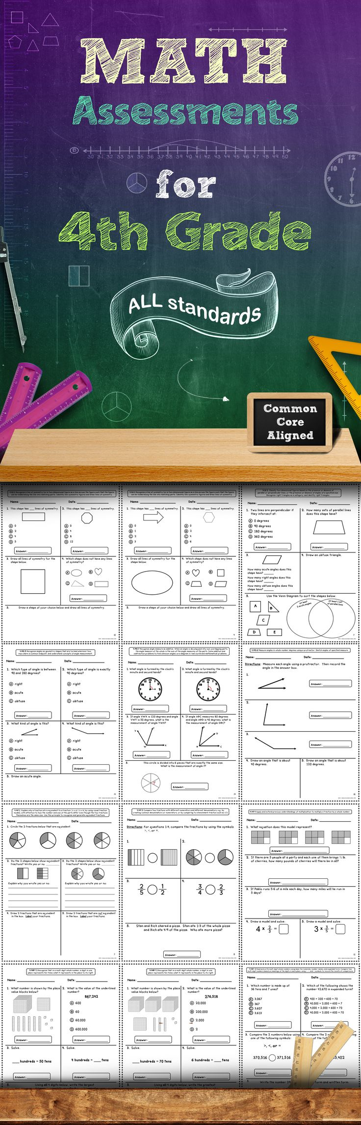 This 60+ page assessment bundle contains quick math assessments for every 4th Grade Common Core Math Standard. There are at least 2 assessments included for each standard. These assessments packs are also available for grades 1, 2, 3, and 5! #math