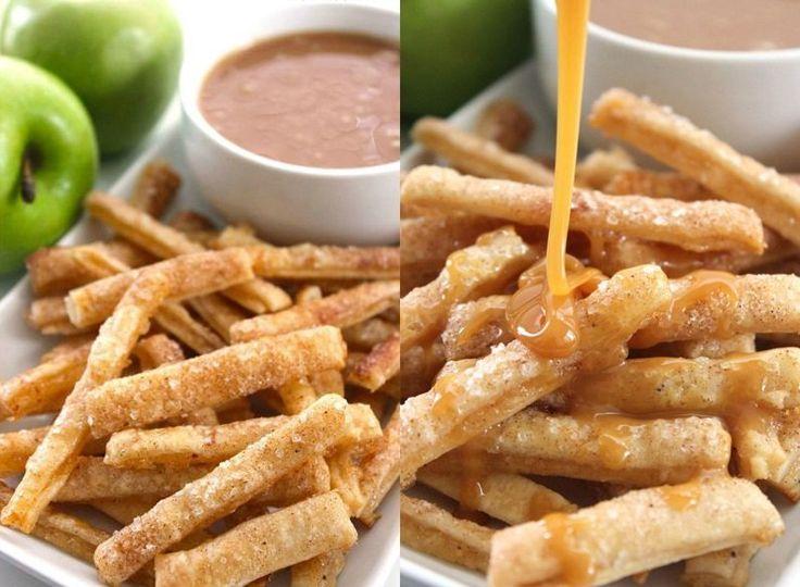 Appeltaart frietjes? Ja, appeltaart frietjes! Deze appel frietjes zijn gemakkelijk om te maken en smaken echt goddelijk!