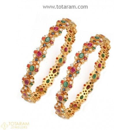 1 Pair Gold Bangles with Multi Colored Stones - 235-GEBL109 - Buy this Latest Indian Gold Jewelry Design in 54.500 Grams for a low price of $4,703.50 #GoldJewelleryWithPrice