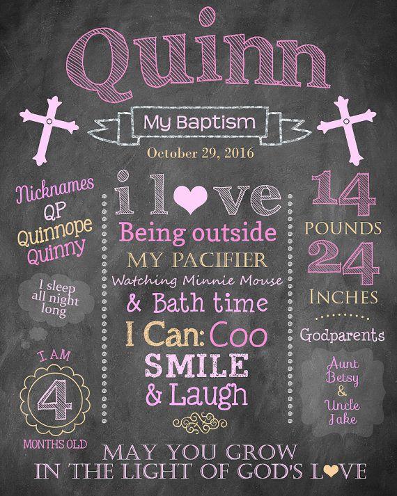 Girl's Baptism Chalkboard Sign - Printable Digital File Customized - Milestones…
