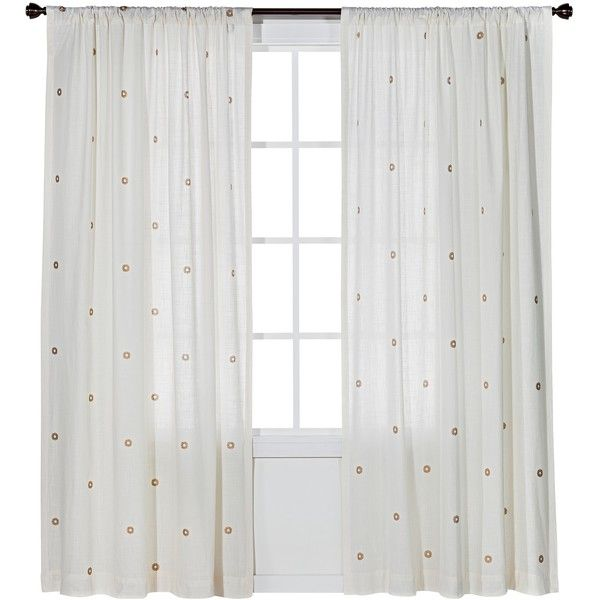 Nate Berkus Metallic Curtain Panel - Cream/Gold ($30) ❤ liked on Polyvore featuring home, home decor, window treatments, curtains, curtain, window, gold curtains, window panels, target curtains and beige curtains