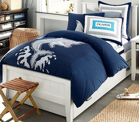 Parker Bed With Nautical Inspired Blue Beding Pottery Barn Kids Ideas For Tyndall