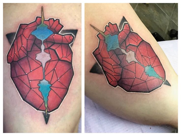 Geometric Heart by Travis Johns at Texas Body Art in Cypress TX