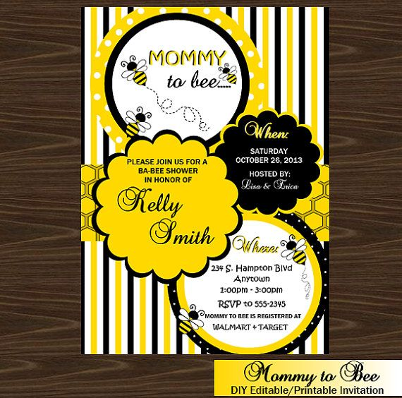 Mommy To Bee Baby Shower Invitation Instant By ADTRCustomDesigns 800