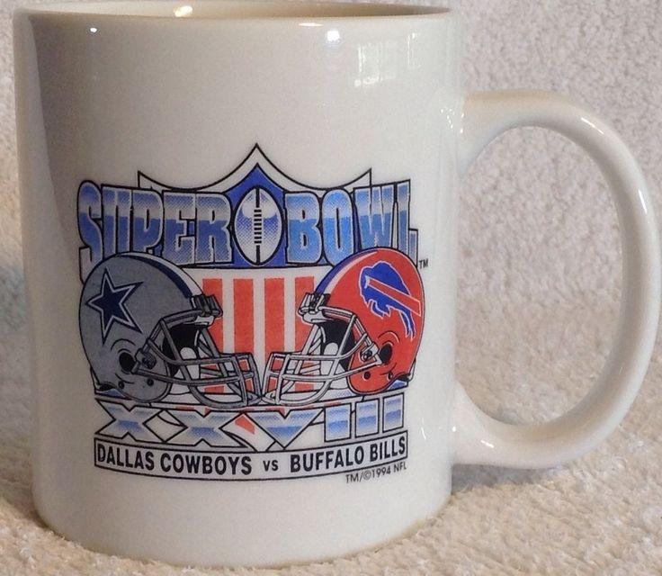 VINTAGE NFL Dallas Cowboys Buffalo Bills Super Bowl XXVIII Collector MUG 1994 #DallasCowboys
