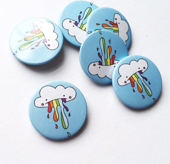 Cute Rainbow Cloud Pin Badges make great party favours!